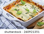Stock photo healthy zucchini lasagna bolognese in a baking dish 260921351
