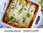 Stock photo healthy zucchini lasagna bolognese in a baking dish 260921354