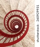spiral wood stairs with red... | Shutterstock . vector #260929931