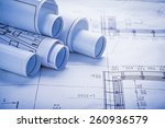 small stack of white rolled up... | Shutterstock . vector #260936579