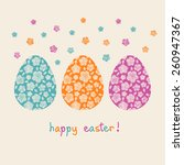 easter card. color eggs with... | Shutterstock . vector #260947367