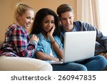 three young students with... | Shutterstock . vector #260947835