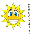 summer sun face and happy smile.... | Shutterstock . vector #260950721