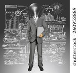 vector lamp head business man... | Shutterstock .eps vector #260953889