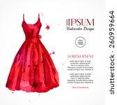 Watercolor Red Dress. Vector...