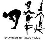 yoga 2 silhouettes | Shutterstock .eps vector #260974229
