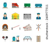 railway flat icons set with...