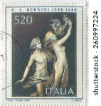 italy   circa 1980  stamp... | Shutterstock . vector #260997224