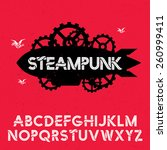 steampunk font with... | Shutterstock .eps vector #260999411