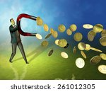 businessman using a magnet to... | Shutterstock . vector #261012305