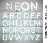 realistic neon alphabet with... | Shutterstock .eps vector #261013601