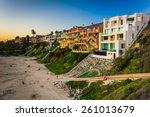 houses on cliffs above corona...   Shutterstock . vector #261013679