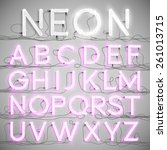 realistic neon alphabet with... | Shutterstock .eps vector #261013715