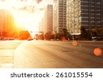 skyline urban road and office...   Shutterstock . vector #261015554