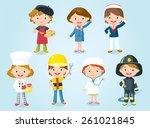 professions for kids | Shutterstock .eps vector #261021845