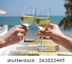 man and woman clanging wine... | Shutterstock . vector #261022445