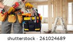 builder handyman with... | Shutterstock . vector #261024689