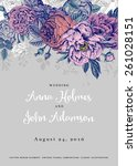 vector vintage floral wedding... | Shutterstock .eps vector #261028151