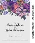 vector vintage floral wedding...   Shutterstock .eps vector #261028181
