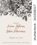 vector vintage floral wedding... | Shutterstock .eps vector #261028217