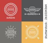 vector burger logo design... | Shutterstock .eps vector #261034364