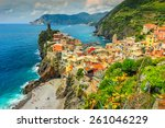 panorama of vernazza and...   Shutterstock . vector #261046229