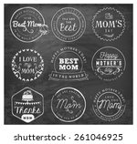 mother's day badges and labels... | Shutterstock .eps vector #261046925