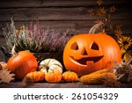 autumn still life with... | Shutterstock . vector #261054329