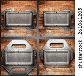 vector metal and wood... | Shutterstock .eps vector #261061205