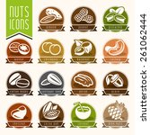 nuts icon set | Shutterstock .eps vector #261062444