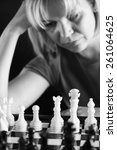woman playing chess white and... | Shutterstock . vector #261064625