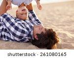 little boy toddler laughing as...   Shutterstock . vector #261080165