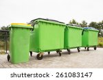 Green Garbage Containers In A...