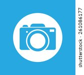 blue flat photo camera icon