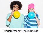 double bubble love. funky young ... | Shutterstock . vector #261086435