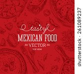 mexican food frame. linear... | Shutterstock .eps vector #261089237