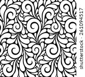 Vector floral seamless pattern with swirl shapes. Black and white background. Decorative illustration for print, web