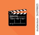 clapper board icon   vector   Shutterstock .eps vector #261098825