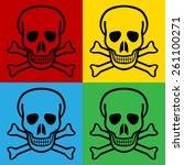 pop art skull and bones danger... | Shutterstock .eps vector #261100271