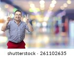 nerd man peace gesture in a... | Shutterstock . vector #261102635
