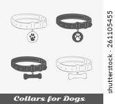 silhouette collars for dogs.... | Shutterstock .eps vector #261105455
