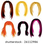 raster set of trendy hair... | Shutterstock . vector #26112986