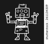 doodle robot | Shutterstock .eps vector #261134309