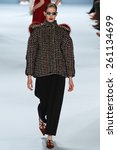 Small photo of NEW YORK, NY - FEBRUARY 16: Model Alisa Ahmann walks the runway wearing Carolina Herrera Fall 2015 Collection during MBFW at Lincoln Center on February 16, 2015 in NYC