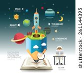 open book infographic... | Shutterstock .eps vector #261144395