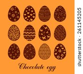 set of decorated chocolate eggs.... | Shutterstock .eps vector #261145205