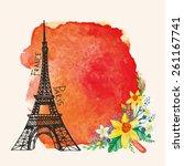 spring paris  card.eiffel tower ...   Shutterstock .eps vector #261167741