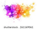 music notes on colorful... | Shutterstock .eps vector #261169061