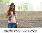 pretty teenage girl on the... | Shutterstock . vector #261169991