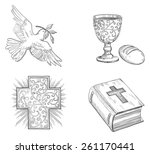 icon set of dove with olive... | Shutterstock .eps vector #261170441